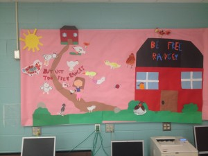 Bulletin Board fourth grade students created to promote exploration, but not exploration that goes too far.